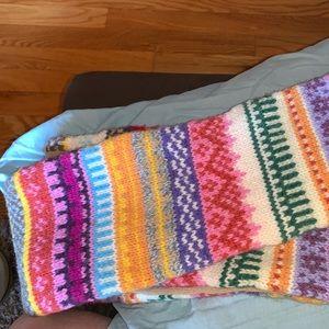 Gap fair isle wool long scarf tassels vintage